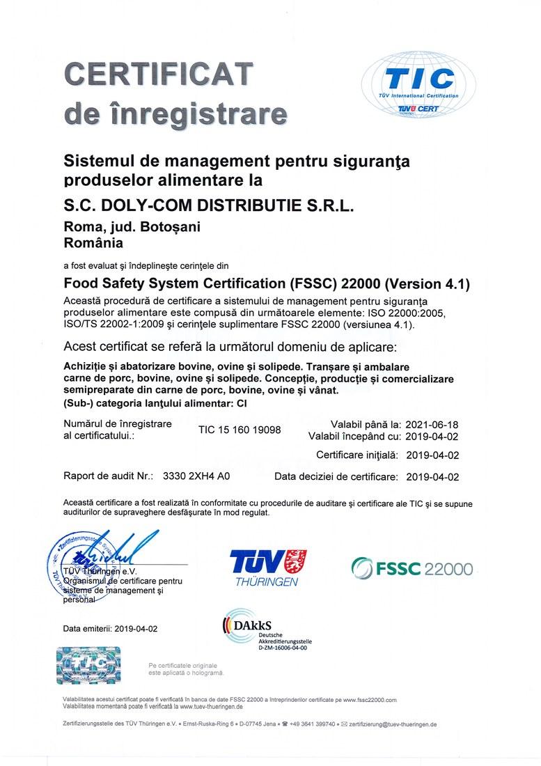 Certificat FSSC 2019